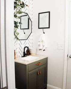 ON TREND! This green vanity paired with black & white wallpaper is the perfect combo! Powder Room Paint, Powder Room Wallpaper, Powder Room Decor, Powder Room Design, Half Bathroom Wallpaper, Powder Room Lighting, Modern Wallpaper, Modern Powder Rooms, Small Powder Rooms