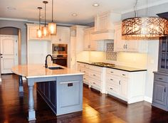 Grey and White Augusta Kitchen, Kitchen Light Fixtures, Two Toned Cabinets, Large Island, Interior Design