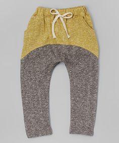 Look at this #zulilyfind! Dark Gray & Yellow Harem Pants - Infant, Toddler & Kids #zulilyfinds