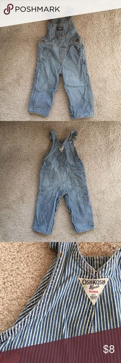 Striped Distressed Overalls Oshkosh striped overalls. Worn minimally. Two small rust spots from washing - see picture. Great for a boy or girl. Osh Kosh Bottoms Overalls
