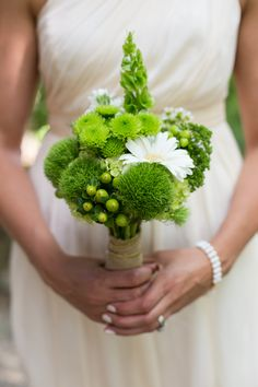 Beautiful Green & White Wedding Bouquet Featuring: White Gerbera Daisies, White Chrysanthemums (Daisies), Green Snowball Viburnum, Green Trick Dianthus, Green Mums, Green Hypericum Berries, Green Bells Of Ireland****