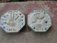 Make garden stepping stones with your children's hand prints