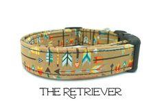 Arrow Dog Collar, The Retriever, Dog Collar, Navajo Dog Collar, Brown Dog Collar, Cute Dog Collar, Puppy, Dog Gift, Matching Leash Available