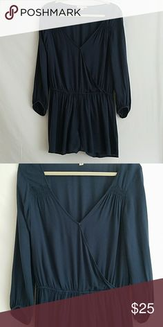 *MARKDOWN*AE Romper Cute Slate Blue American Eagle Romper w/ Sinched Waist & Cuffs. Like new. Feel free to make an offer. American Eagle Outfitters Other