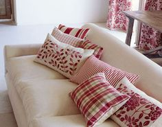 red ticking - love the mixture of prints of these pillows