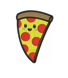 """3.6"""" KAWAII pepperoni cheese pizza slice Embroidered Iron on patch"""