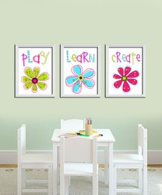 Playroom Bright Colorful Play Create Learn Floral Flowers Artwork Set of 3 Trio Prints WALL Baby Decor ART Child Girl Crib NURSERY on Etsy, $25.00