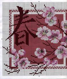 Gratis mønstre og ordninger: Malerier med blomster og kinesiske tegn