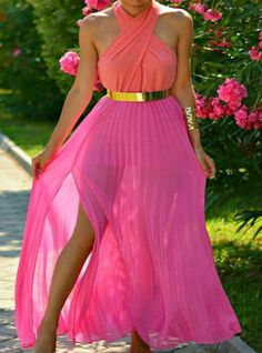 Chic Street Fashion and Style / karen cox. Pink Pleated Maxi Skirt With Gold Belt : Chic Street Fashion and Style / karen cox. Pink Pleated Maxi Skirt With Gold Belt Dress Skirt, Dress Up, Prom Dress, Slit Dress, Chiffon Dress, Bridesmaid Dress, Bridesmaids, Lace Dress, Outfit Chic