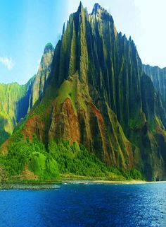 The Napali Coast. Kauai, Hawaii. We took a catamaran to this area! Saw manta ray, dolphins in the 100's, sea turtles, seals and beautiful humpback whales. ..