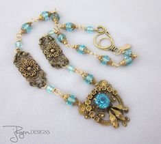 This vintage repurposed necklace is uniquely designed and SOLD - access my other designs at jryendesigns.etsy.com