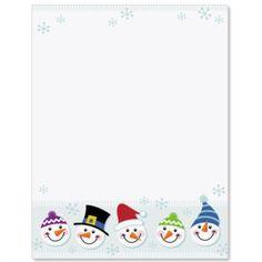 Snowmen Faces Letter Paper
