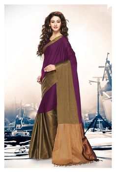 Purple Cotton Saree With Blouse 69921
