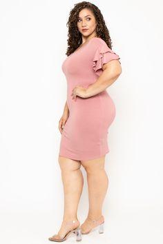 Plus Size Ruffle Sleeve Dress - Mauve – Curvy Sense Trendy Plus Size Clothing, Plus Size Outfits, Plus Size Fashion, Fat Fashion, Curvy Women Fashion, Fashion Night, Plus Size Looks, Plus Size Model, Gauze Clothing