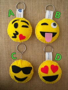 Felt hand made keychain emoticon whatsapp
