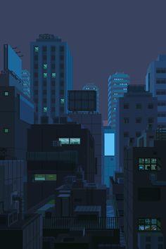 vaporwave paisagem You can rest now. Pixel Art City, Cool Pixel Art, Wallpaper Animes, Anime Scenery Wallpaper, Wallpaper Backgrounds, Aesthetic Gif, Aesthetic Backgrounds, Aesthetic Wallpapers, Image Pixel Art