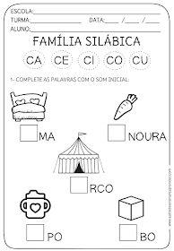 A Arte de Ensinar e Aprender: Atividade pronta - Família Silábica C
