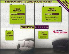 8x10 Poster Photoshop Print Mockup P810-W1 | Portrait & Landscape Poster on Interior wall | Unframed Print | Black binder clips