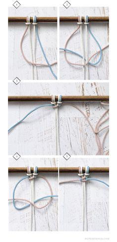 macrame wall hanging tutorial diy knots dupetitdoux macramé tenture murale artisanat tutoriel step-by-step Macrame Wall Hanging Tutorial, Macrame Wall Hanging Patterns, Macrame Patterns, Diy Jewelry Holder, Diy Jewelry Making, Macrame Cord, Micro Macrame, Diy Macrame, Macrame Projects