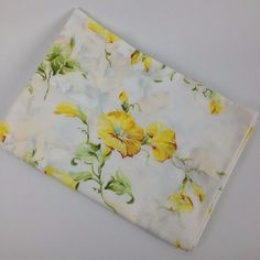 VTG Pillowcase Pequot Percale Floral Yellow Cutter Fabric Mid Century Bedding #Pequot #MidCenturyModernFlowerPower