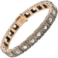 Victorian 10.0 Carat Rose Cut Diamond Antique Bracelet | From a unique collection of vintage link bracelets at https://www.1stdibs.com/jewelry/bracelets/link-bracelets/