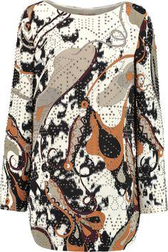 EMILIO PUCCI Studded Printed Silk-Satin Top. #emiliopucci #cloth #top