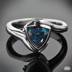 Custom Blue Sapphire Trillion Solitaire Engagement Ring   PriceScope
