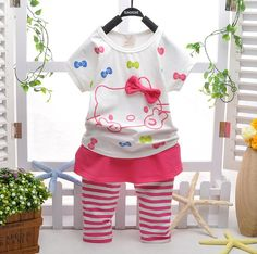Hello Kitty Clothing Set //Price: $32.99 & FREE Shipping // World of Hello Kitty http://worldofhellokitty.com/retail-2014-fashion-chilrens-casual-wear-summer-clothes-suit-girls-short-sleeve-hello-kitty-t-shirt-striped-culottes-2pcs-set/    #collectibles