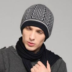a9efb92e Mens geometric beanie hat for winter outdoor sports lined fleece knit hats