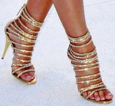 Gold Strappy Heels #ElevatedFashion #Dressy - Would be great with a Little Black Dress #LBD