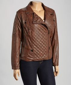 Look what I found on #zulily! Cognac Quilted Faux Leather Jacket - Plus by Dollhouse #zulilyfinds