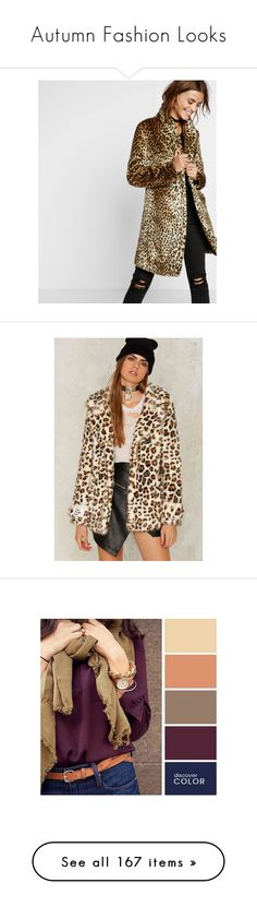 """Autumn Fashion Looks"" by lindaweldon ❤ liked on Polyvore featuring Fall, autumn, fallfashion, outerwear, coats, multi, fur coat, express coats, leopard coat and faux fur coats"