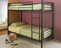 Twin Over Twin Bunk Beds Black Metal Frame Ladder Boys Student Bedroom For Sale Bunk Bed Sets, Full Bunk Beds, Kids Bunk Beds, Loft Beds, Contemporary Bunk Beds, Modern Bunk Beds, Modern Loft, Contemporary Style, Rustic Furniture