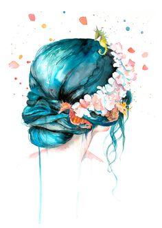 Mermaid Hair Watercolor Print Mermaid Print by WatercolorMary