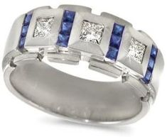 Mens Diamond Ring Sapphire Block Band In Platinum