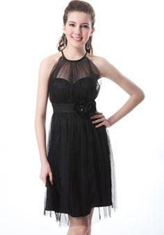 A line Halter Knee Length Tulle Empire Waist Evening Cocktail Dress With Sash/ Ribbon - 1300305965B - US$99.99 - BellasDress