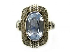 Art Deco Theodor Fahrner Silver & Blue Paste Ring