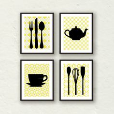 Modern Kitchen Wall Decor mustard yellow kitchen walls with sand color cabinets. love this