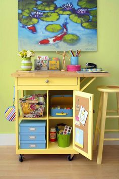 A small kitchen island makes a useful craft  cart. Store magazines and patterns in boxes, fabric in a wire basket, and hide  small quilting notions behind a door. Post notes and inspiration on a bulletin  board surface inside the door.