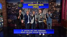 "The Late Show Video - Backstreet Boys Top Ten - This made me laugh, especially #10, 9, and 1.  ""I don't care who you are, where you're from, what you did, I have very low standards."""
