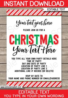 Printable Christmas Party Invitations template - Christmas Party Invites - 5x7 inches - editable text - Any occasion - INSTANT DOWNLOAD via simonemadeit.com