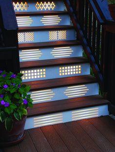 Stairway lighting Ideas with spectacular and moderniInteriors, Nautical stairway, Sky Loft Stair Lights, Outdoors Stair Lights, Contemporary Stair Lighting. Deck Steps, Outdoor Steps, Stair Steps, Deck Step Lights, Stairway Lighting, Ceiling Lighting, Strip Lighting, Blitz Design, Stair Risers