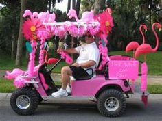 Flamingo Golf Cart!   OMG!!!! We need to get Mom one of these for cruisin around town, @Terry Thomas & @Lynn Waters Lindsay!!!