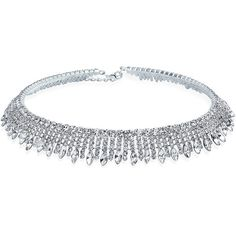 Art Deco Style Silver Plated Crystal Bridal Choker Necklace ($38) ❤ liked on Polyvore featuring jewelry, necklaces, clear, choker necklaces, sparkly choker necklace, crystal choker necklace, collar necklace and clear crystal necklace