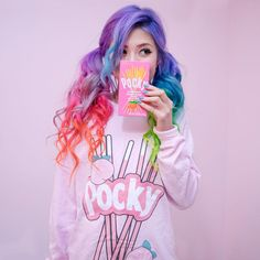 POCKY UNISEX LONG SLEEVE TEE ($35) ❤ liked on Polyvore featuring tops, t-shirts, pink long sleeve t shirt, unisex t shirts, pink top, pink t shirt and pink tee