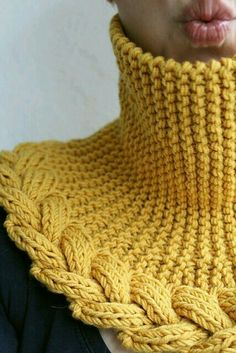 """truebluemeandyou: """" DIY Knit Neckwarmer Free Pattern from DROPS on Ravelry. This yellow version was made by knittintin. If you join Ravelry (it's free and no spam), you get to see photos of this.Ravelry: knittintin's Yes, Yellow knit from b - Ros Loom Knitting Patterns, Free Knitting, Knitting Projects, Crochet Projects, Crochet Patterns, Shawl Patterns, Knitted Shawls, Crochet Scarves, Knitting Accessories"""