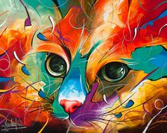 Colorful Cat face - this is so imaginative! Limited Edition Giclée Print from my Original Acrylic painting, by Naushadarts