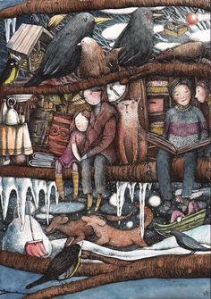 Heat of the books / Al calor de los libros (ilustración de Sasha Ivoylova)  Via: desvandelecturas