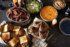 beautiful meal Slows Bar BQ: Baby back ribs, Caesar salad, mac and cheese, lemon-brined chicken and Gouda-bacon burgers Detroit Food, Detroit Michigan, Wine Recipes, Great Recipes, A Food, Food And Drink, Summer Grilling Recipes, Food & Wine Magazine, Kitchens