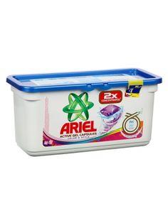 Kapsułki żelowe od znanej firmy ARIEL. Doskonale radzą sobie z trudnymi plamami oraz całkowicie się rozpuszczają w wodzie. Twoje pranie od dziś będzie cudownie świeże i pachnące. Ekonomiczne opakowanie starcza na 32 prania.